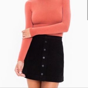 American Apparel black button front a-line skirt